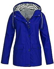FRAUIT Regenjas voor dames, winterjas, wintermantel, plussize, outdoor waterdichte jas met capuchon, regenjas voor dames, outdoorjas, regenjas met capuchon, winddicht