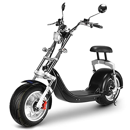 Fat Tire Scooter for Adult 2500W Electric Motorcycle with F&R Hydraulic Disc Brake and USB Output Port,Black