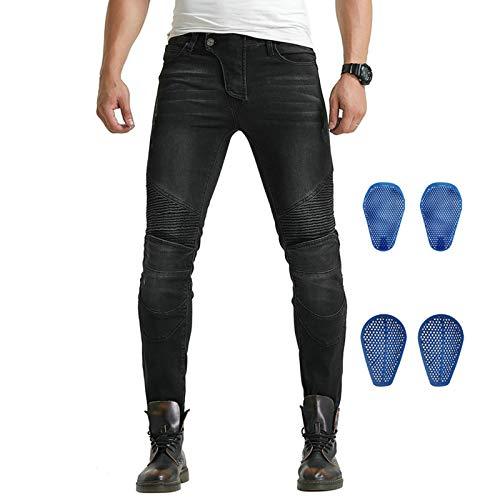 YFFS Pantalones De Moto Para Hombre Vaqueros Con Protección Pantalones De Motociclista Off-road Vaqueros De Carreras, Rodilleras Hasta La Rodilla (black,4XL)