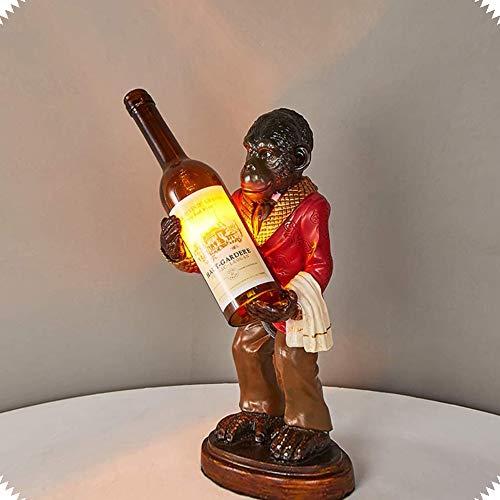 ZHIRCEKE Mono sostiene la lámpara de Botella, decoración exótica Mono Personalidad Personalidad de iluminación Decorativa Barra de Vino