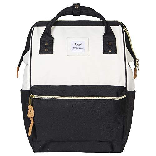 Himawari Polyester Laptop Daypack Vintage School Bag Fits 13-inch Laptop White&Black