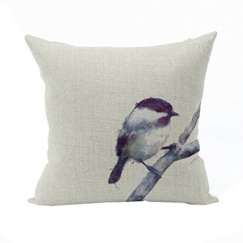 Nunubee Federa con Cerniera Quadrato Cuscino Morbido Cotone Accessori per la Casa Divano Letto 45 x 45 Uccelli e Fiori Stile 3