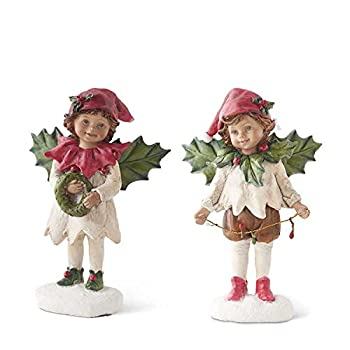 K&K Interiors 53083A Assorted 5.5 Inch Resin Girl/Boy W/Holly Wings  2 Styles  Red White and Green