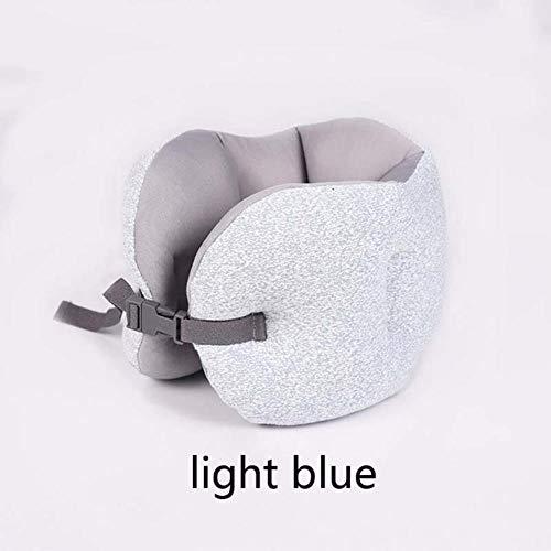 Huien zachte u-vormige kussen reisbureau kussen slaapaccessoires traagschuim thuiskantoor dutje nekkussen auto vliegtuigen kussens, lichtblauw, 20cmx17cm