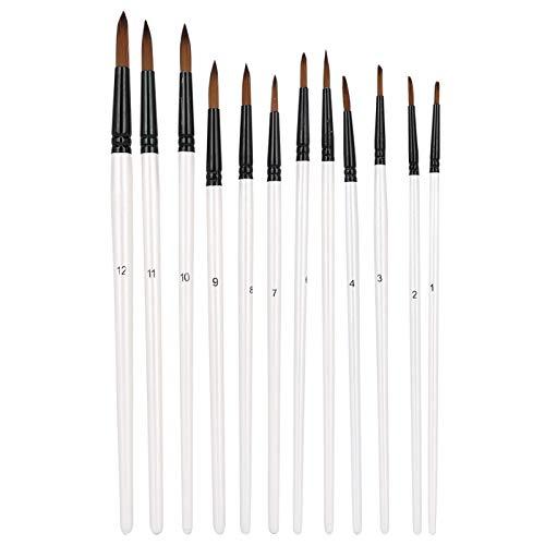 12 piezas de pinceles de nailon para el cabello, pinceles de artista para principiantes y artistas profesionales(D pointed)
