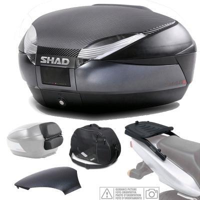 KIT-SHAD-1687 - Kit fijacion y Maleta baul Trasero Gris Oscuro + Respaldo + Bolsa + Tapa SH48 Compatible con BMW F800 GT 2013-2014