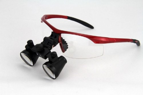 """Dental Surgicial Loupe Loupes 2.5x Magnification 16.5"""" (420mm) Working Distance Burgundy Goggles"""