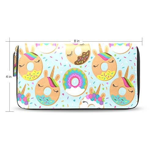 Ahomy Women's Zipper Wallet Cartoon Unicorn Donuts PU Leather Ladies Long Wallet Purse Coin Clutch Bag