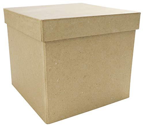 Décopatch BT039O Box quadratisch aus Pappmaché, 16 x 16 x 14 cm, zum Verzieren, perfekt für Ihre Wohndeko, Kartonbraun