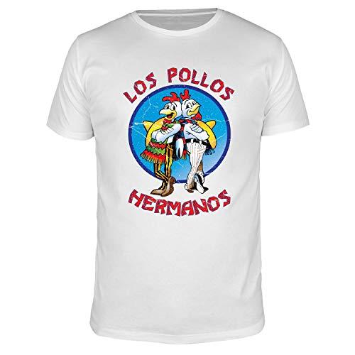 FABTEE - Los Pollos Hermanos - Herren Fun T-Shirt | Plus 2 Gratis Aufkleber | Als Geschenk zu Weihnachten, Geburtstag oder einfach so | in Größen bis 4XL, Größe:L, Farbe:Weiß