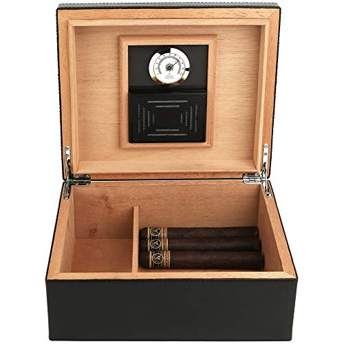 Mantello Black Leather Cigar Humidor Humidifier Box with Hygrometer - Holds (25-50 Cigars)
