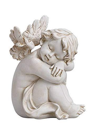 Deko Engel Figur Schlafender Schutzengel Sitzend 13 cm, Polystein Altweiß Antik Weiß Dekofigur Engelchen Engelkind Engelfigur Engelstatue Dekoengel