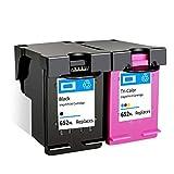 SSBY Reemplazo de Cartucho de Tinta Compatible para HP 652XL Uso con Deskjet Ink Advantage 1115 1118 2135 2136 2138 2675 2676 2677 2678 3635 3636 3638 3700 Cartucho de Tinta-Black+Color