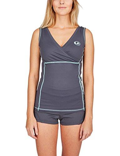Ultrasport T-Shirt Funzionale Antibatterica Fitness per Donna con Funzione Quick Dry, Grey/Mint, S