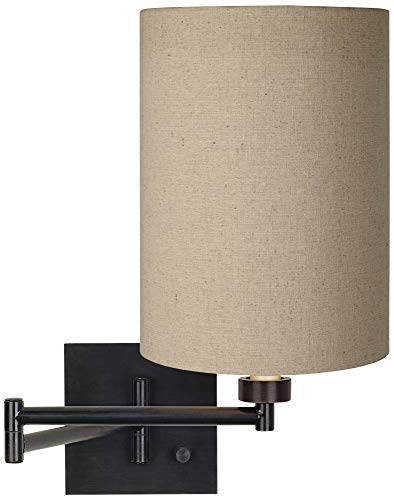 Modern Swing Arm Wall Lamp with Cord Espresso Plug-in Light Fixture Dimmable Tan Cotton Blend Cylinder Shade for Bedroom Bedside House Reading Living Room Home Hallway Dining - Franklin Iron Works