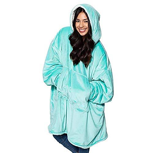 KPII Manta Sudadera con Capucha, Super Soft Warm Sherpa con Bolsillo Frontal Grande Sweatshirt, Talla Unica para Hombre y Mujer,Verde,One Size