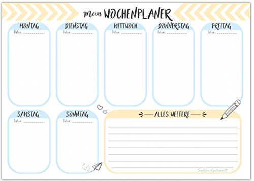 DIN A5 Wochenkalender - Wochenplaner mit praktischer Wochenübersicht 50 Blätter - Block To do Liste Terminplaner - von Sophies Kartenwelt