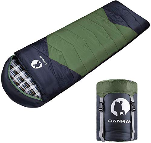 CANWAY Sleeping Bag with Compression Sack, Lightweight and Waterproof for Warm & Cold Weather,...