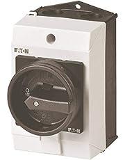 Eaton 207150 hoofdschakelaar, 3-polig + 1 sluiter, 20 A, houderfunctie, 90 graden, afsluitbaar in 0-stand, opbouw.