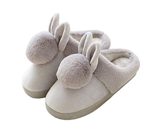 Rojeam, Pantofole del Coniglio, Ragazze , Signore, Scivolano sulle Pantofole, Grigio,37-38 EU