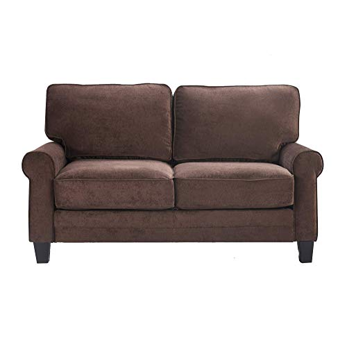 Serta Copenhagen Storage Sofas Two or Three Person Living Room Couch with Soft Foam-Filled Cushions, Easy-to-Clean Microfiber Upholstery, 61' Loveseat, Dark Brown