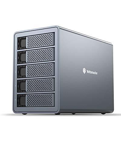 [ RAID & 80TB ] Yottamaster 5 Bay RAID Festplatten Gehäuse,Aluminum SATA III to USB3.0 Externe Festplatten Dockingstation for 2.5