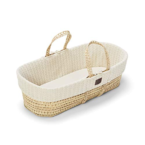 The Little Green Sheep Natural Knitted Moses Basket and Mattress, Linen