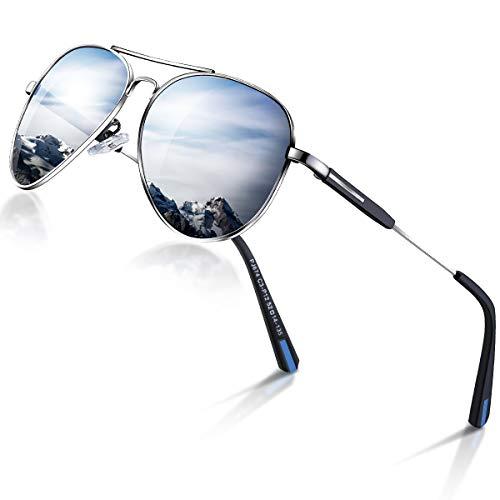 DADA-PRO Sonnenbrille Herren Pilotenbrille Damen Polarisiert Verspiegelt Retro Fahren Fahrerbrille UV400 Schutz für Autofahren Reisen Golf Party und Freizeit (Silber)