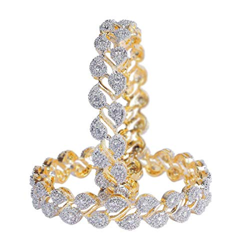 Jewels Galaxy Leaf Design American Diamond Adorable Bangles Set for Women/Girls (2.4) (JG-BNGG-181)