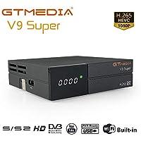 GT MEDIA V9 Super DVB-S2 Decodificador Satélite Receptor de TV Digital H.265 HD 1080P FTA Soporte CC CAM New CAM Youtube PVR Ready PowerVu Clave Biss, Wi-fi Incorporado
