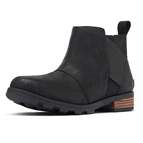 Sorel Women's Emelie Chelsea Waterproof Ankle Boots, Black, 8 M US