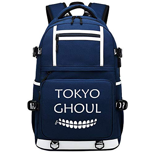 BOBD-DW Tokyo Ghoul College Bag Fits Up Laptop Casual Rucksack Business Travel School Backpack Daypacks with USB Unisex No Character USB Anime Backpack 48X30X15CM