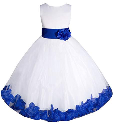 AMJ Dresses Inc Big-Girls' White/Royal Blue Flower Girl Dress E1008 Sz 10