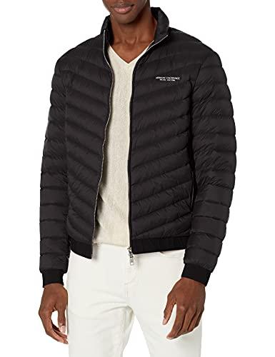 Armani Exchange Quilted Down Milano/New York Logo Zip-up Jacket Chamarra de Plumas Alternativa, Black Melange Grey B, XS para Hombre
