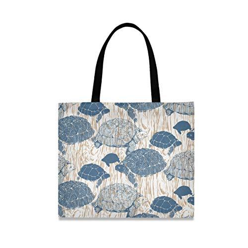 Bolsa de lona de madera y tortuga para mujer, grande, reutilizable con bolsillo interior, bolsa de compras, para gimnasio, playa, viajes al aire libre