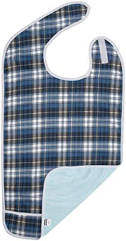 Adult Bib for Eating Waterproof Clothing Protector with Crumb Catcher Machine Washable Blue product image