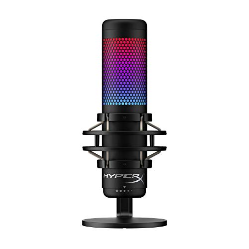 HyperX QuadCast S – RGB USB Condenser Microphone for PC, PS4 and Mac, Anti-Vibration Shock Mount, Four Polar Patterns, Pop Filter, Gain Control, Gaming, Streaming, Podcasts, Twitch, YouTube, Discord
