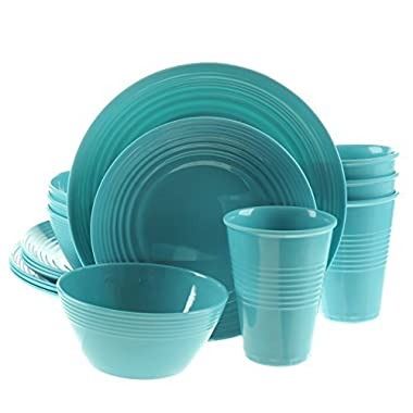 Handi-Ware 16-Piece Melamine Dinnerware Set, Service for 4, Break & Chip Resistant, Indoor/Outdoor, Wave Rim Design, by Unity (Turquoise)