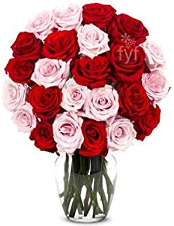 Flowers - Two Dozen Red & Pink Roses (Free Vase Included)