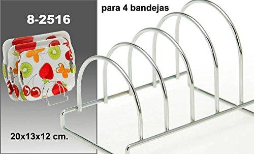 DONREGALOWEB Soporte bandejas Metal Cromado 4 bandejas