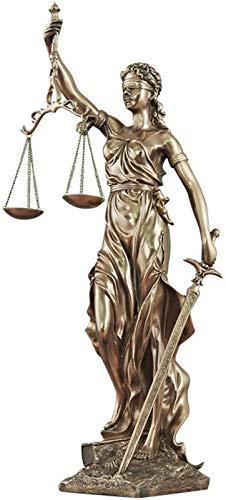 JJDSN Escultura de Estatua de Lady Justice, Gran Resina de Bronce Fundido en fro con los Ojos vendados, Figura de Justicia Que Lleva la Justicia y la Espada-b 25x13x47cm