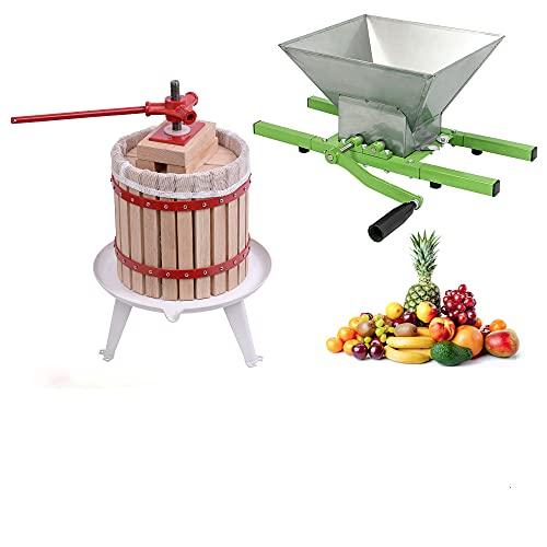 Aufun Prensa de Fruta, Prensa de Vino, exprimidor de Fruta, Prensa de maíz + Molinillo de Fruta, trituradora Manual con manivela, para Manzana (18 L Prensa de Frutas + 7 L Molinillo de Frutas)