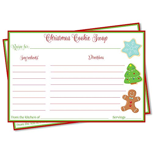 Recipe Card, Baking, Christmas Cookies, Treats, Swap, Cookie Swap, Gingerbread, Red, Green, White, Social Distancing, Remote, Dropoff, 24 Pack Printed Cookie Swap Recipe Cards