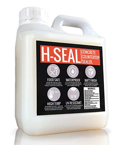 H-SEAL Concrete COUNTERTOP/WORKTOP Sealer | Food Safe/Grade | High Temp | Matte Finish | Waterproof | UV Resistant (1 Liter)
