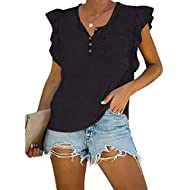 GAMISOTE Womens Ruffle Sleeve T Shirt 1/4 Button Down Casual Loose Summer Tees Tops