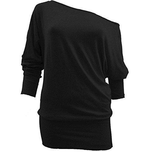 Preisvergleich Produktbild Lush Clothing Damen-Langarmshirt,  kann auf der Schulter oder darunter getragen werden,  weiter Schnitt,  Größen 34-48 Gr. XXL,  schwarz