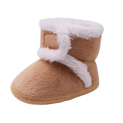 Lazzboy Babys Kaschmir Plüsch Winterstiefel Bandage Warme Schuhe Unisex-Baby Neugeborenes Fleece Booties Bio rutschfeste Greifer Winterschuhe(Khaki,12)