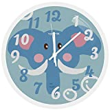 TOPPTIK Wall Clock -12 Inch Modern Children Clock Silent Non Ticking Battery Operated Round Wall Clock Easy to Read Decorative for Living Room Home Kitchen Office School Classroom (Elephant)