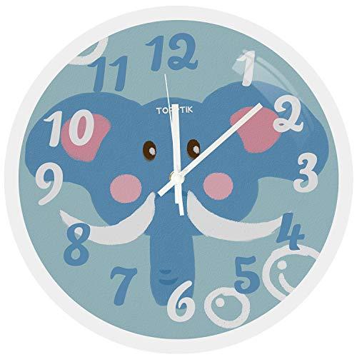 HOSTON Orologio da Parete Cucina 30cm Moderno Decorazioni casa Orologio Digitale Tranquillo Orologio da Parete utilizzato in Soggiorno, Camera, Ufficio(Elefante Blu)