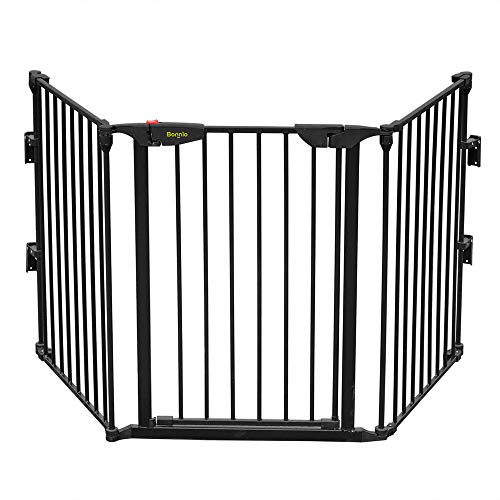 "Bonnlo 73-Inch Configurable Walk-Through Baby Safety Gate Adjustable Metal Barrier/Fence for Toddler/Pet/Dog/Cat/Puppy – Ideal for Openings/Stairs/Doorways (25.39""W x 29.3"" H Each Panel)"